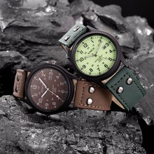 Fashion Vintage Classic Men's Waterproof Date Leather Strap