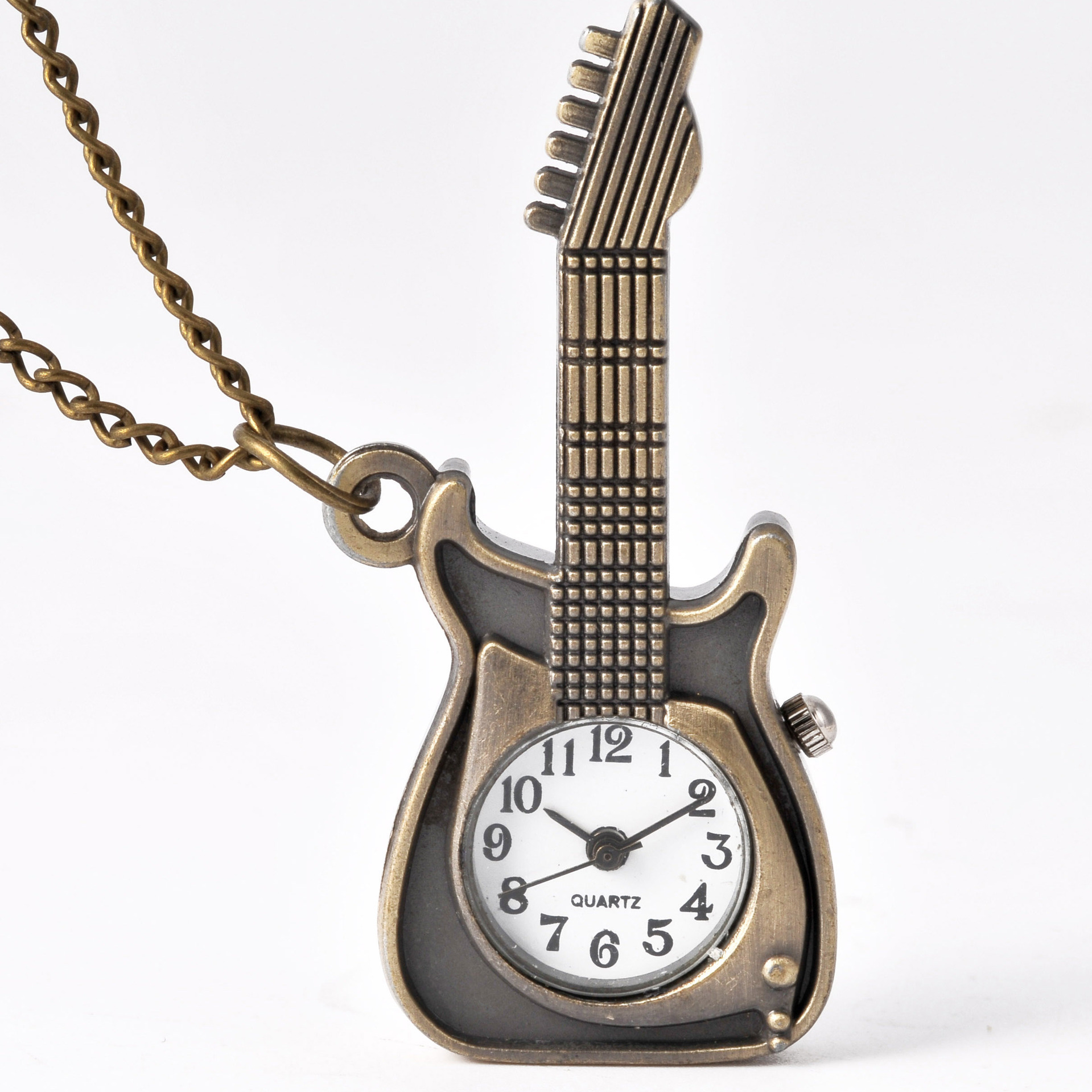 Guitar Pocket Watch Jewelry Small Size Cute Guitar Shape Pocket Watch With Chain Birthday Gift For Children