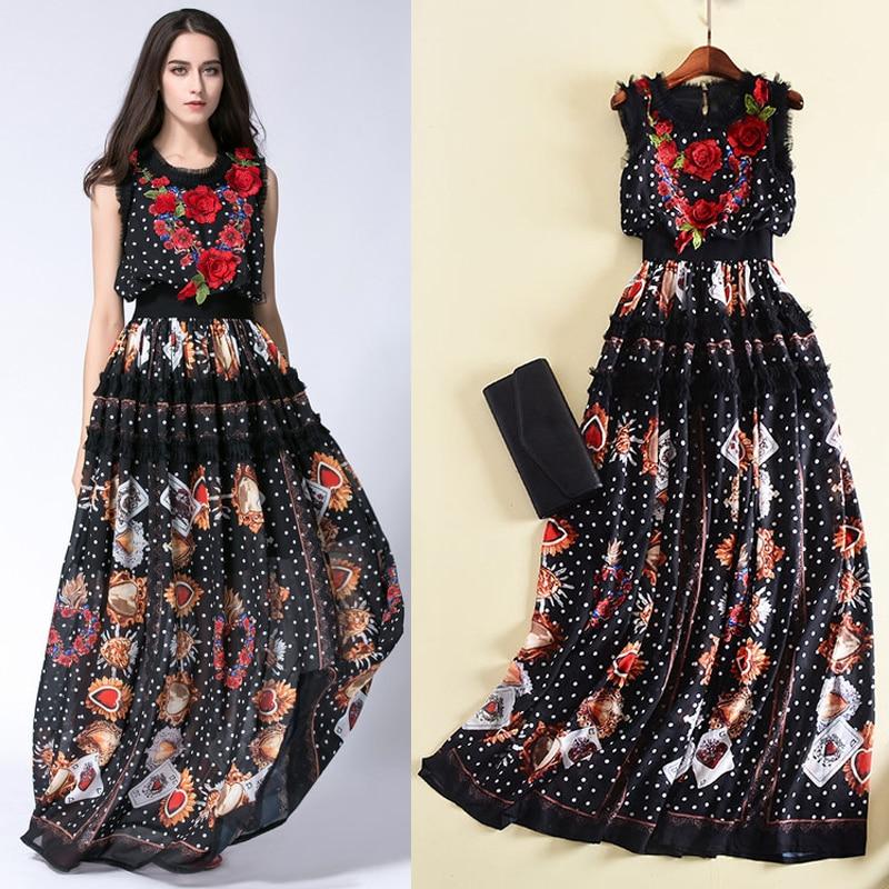 Haute qualité 2018 automne et hiver nouvelle robe à fleurs brodées cartes à jouer rouge coeur vague dot impression couture robe