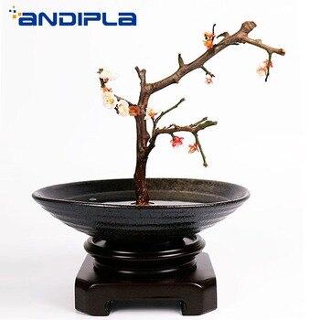Japanese Style Ikebana Black Ceramic Coarse Pottery Flower Pot Office Desktop Vase Hydroponic Planter Food Plate Bowl Home Decor