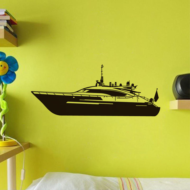 Free Shipping Motor Boat Kids Wall Stickers Creative Design Boat ...