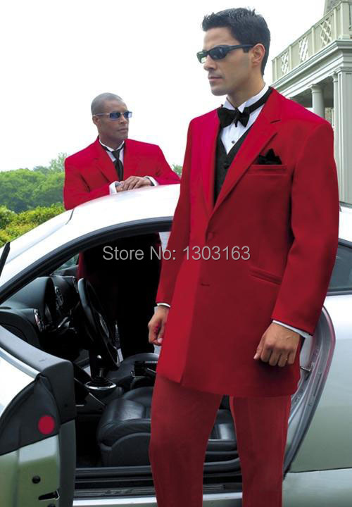 2016High quality Red Two buttons Notch Lapel Groom Tuxedos Groomsmen Men Wedding Suits Bridegroom (Jacket+Pants+Vest+Tie)