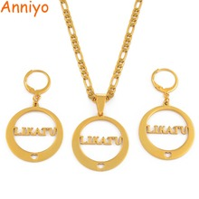 Anniyo LIKATU Islands Pendant Necklaces and Earrings sets for Women Gold Color Jewelry Island style /  CANNOT CUSTOMIZE #033421