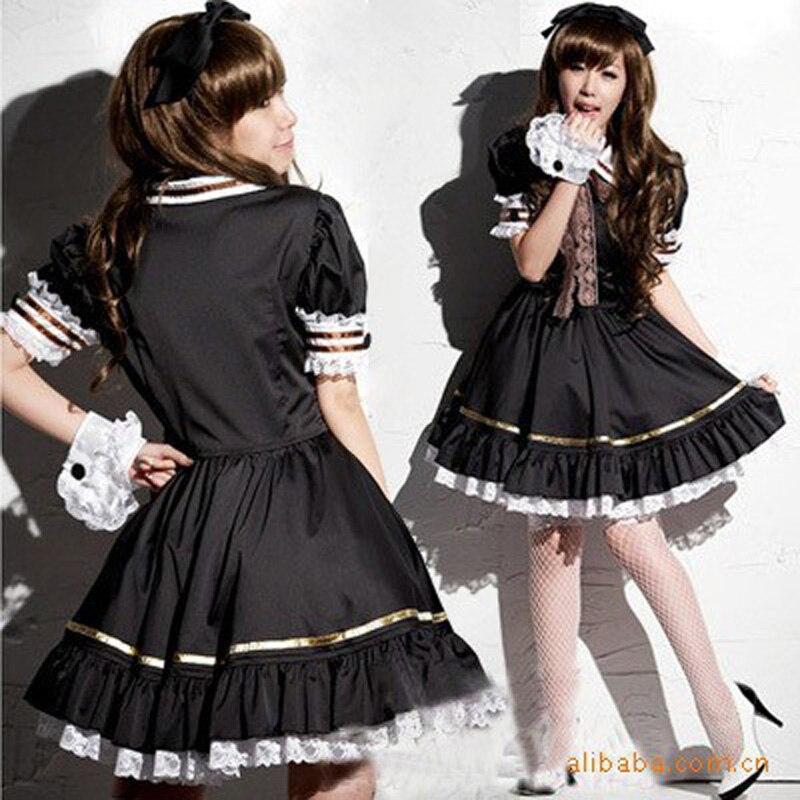 Women Girl Japan Anime Lolita Black Dress Cosplay Coffee Maid Costume Flared Bottom Puff Bishop Sleeve