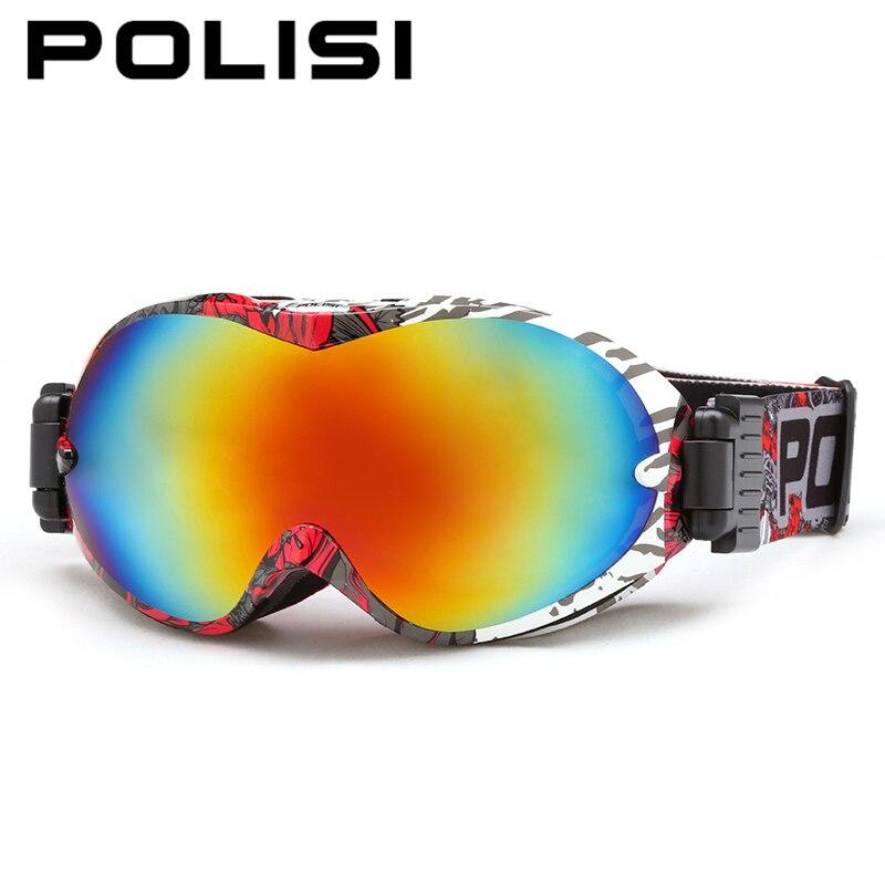 ФОТО POLISI Winter Ski Snow Glasses UV400 Big Spheral Anti-Fog Lens Snowboard Goggles Men Women Mountain Skiing Esqui Sports Eyewear