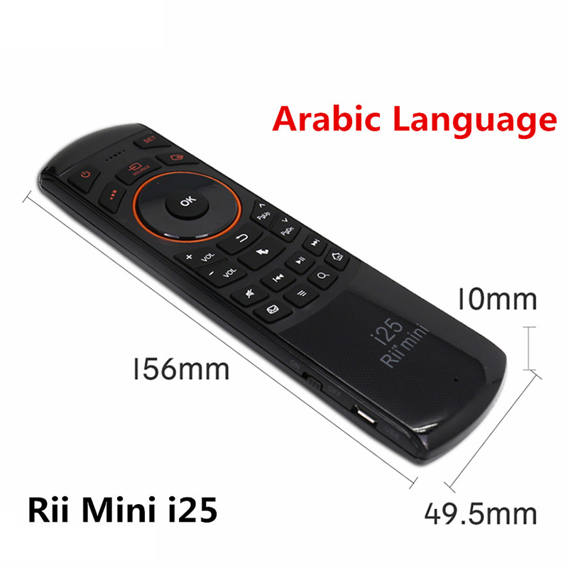 цена Original Rii i25 Arabic Keyboard 2.4G Mini Wirless Keyboards + Air Fly Mouse High Quality for PC HTPC Smart Android TV Box IPTV