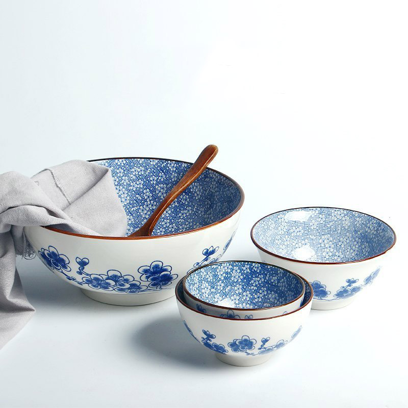 Blue flower decorative bowl bol ceramic bowl for food rice bowl wedding party gifts dinnerware sets soup bowl