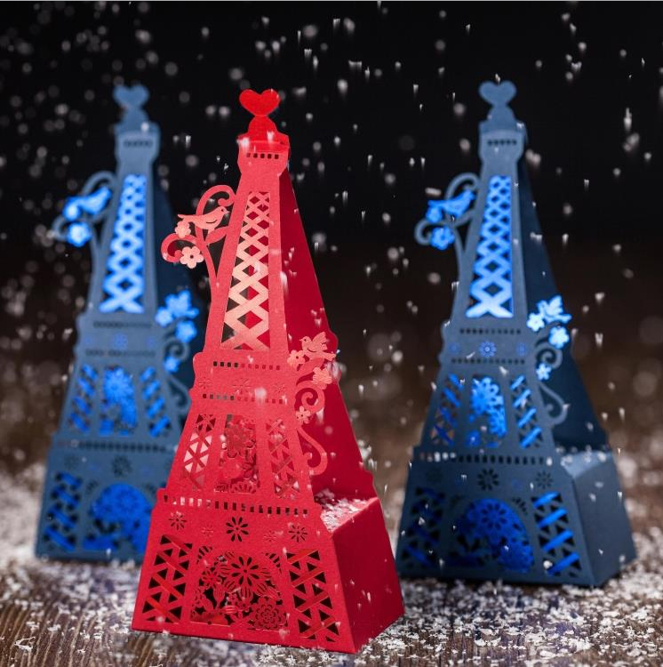 50X New Hollow Eiffel Tower Wedding Candy Box With Love Birds Wedding Favor Gift Box Candy Box Part Decoraton