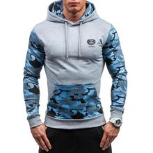 ZOGAA New Autumn and Winter Mens Hoodies Contrast Color Slim Thickened Fleece