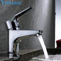 HOTAAN משלוח חינם ברז כיור אמבטיה ידית אחת חור אחד חם וקר נחושת מים כיור כלי רז מיקסר Chrome גימור
