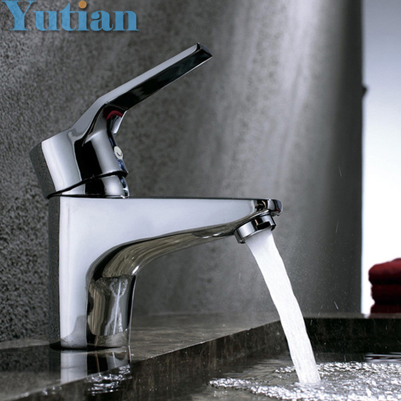Hotaan Free Shipping Single Handle One Hole Bathroom Basin Faucet Hot And Cold Copper Vessel