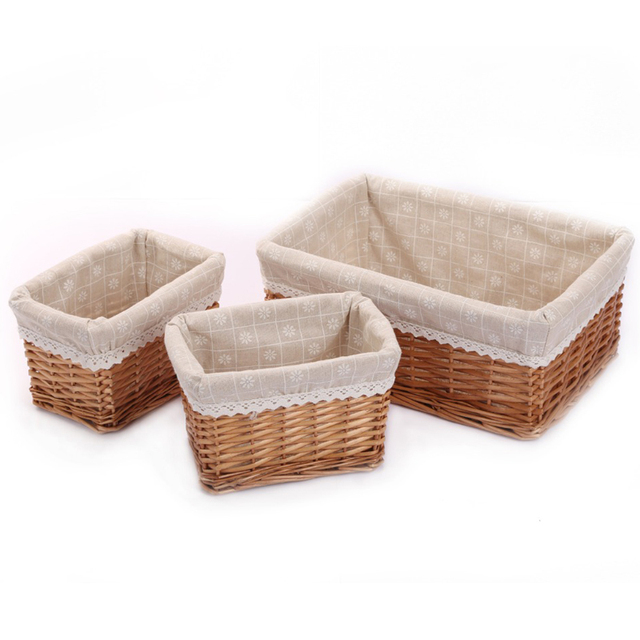 Small Large Woven Wicker Storage Baskets Bins Z Rectangular Containers Drawers Organizer Box Panier De Rangement