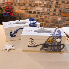 LUCKK 24CM Handmade Mediterranean Style Wooden Tissue Box Nordic Home Decoration Nautical Office Wood Ornament Carfts Souvenirs