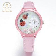 Cadeau de noël montres mujer 2016 miss keke 3d d'argile à la main mini monde coccinelle montre enfants fille rose en cuir montres 817a