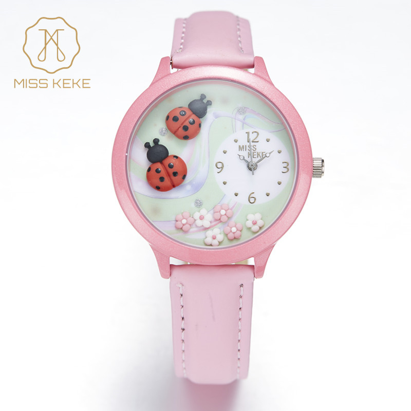 MISS KEKE Geneva Clay Ceramic 3D Handmade Septempunctata Ladybug Watches Children Kids Girl Pink Leather Quartz Wristwatch 817A