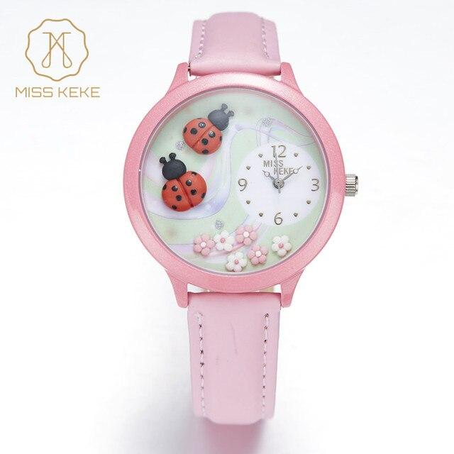 MISS KEKE Geneva Clay ceramic 3D Handmade Septempunctata Ladybug Watches childre