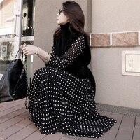 2018ファッションエレガンス夏秋カジュアルパーティースタイルレディドレスロングパフ長袖ドットプリントシフォンドレスロングブラックドレス