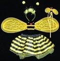 Asas de abelhas do dia das bruxas natal meninas bonitos cosplay bee costume dress + saias tutu 4 peça define para as crianças performance de palco traje