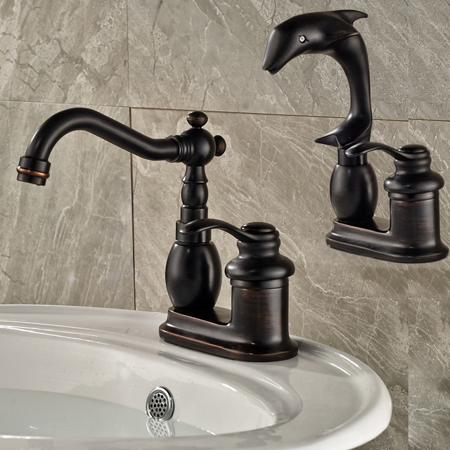 Ordinaire Oil Rubbed Bronze Dolphin Shape Basin Sink Faucet Single Handle Washbasin Mixer  Taps Deck Mounted 2