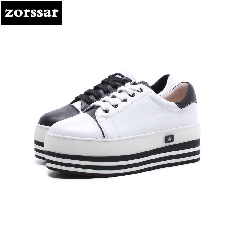 {Zorssar} 2018 spring New Fashion Genuine Leather shoes Women flats Casual Shoes Comfortable Flat platform Female sneakers shoes minika new arrival 2017 casual shoes women multicolor optional comfortable women flat shoes fashion patchwork platform shoes