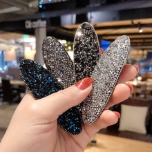 New Fashion Glitter Girls Hairpins Simple Sequins Barrette Shiny BB Clip Black Solid Color Hair Accessories Women Hairclip