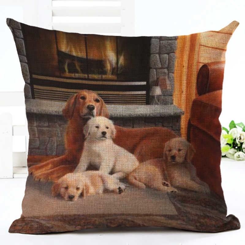 ร้อนขายสุนัขที่มีคุณภาพสูงครอบครัวตกแต่งบ้านปลอกหมอนอิงตกแต่งพิมพ์โยนปลอกหมอนCojines Almofada
