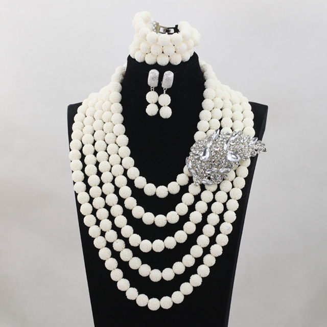 White 5 Rows Coral Beads Wedding Jewelry Set 2017 New Nigerian