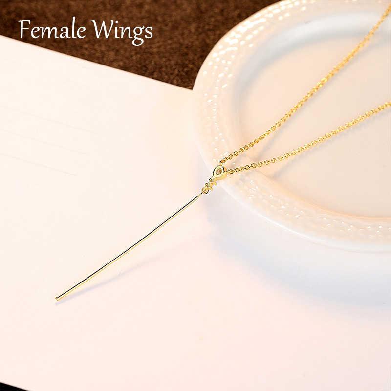 หญิงปีก Simple 925 สร้อยคอเงินชุบทองจี้ Golden CZ Zircon เครื่องประดับสำหรับผู้หญิงของขวัญ FN007