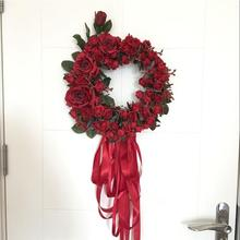 LanLan Simulation Rose Floral Door Wreath Artificial Garland Door Lintel Trim Decor Wedding Party Home Decoration-30