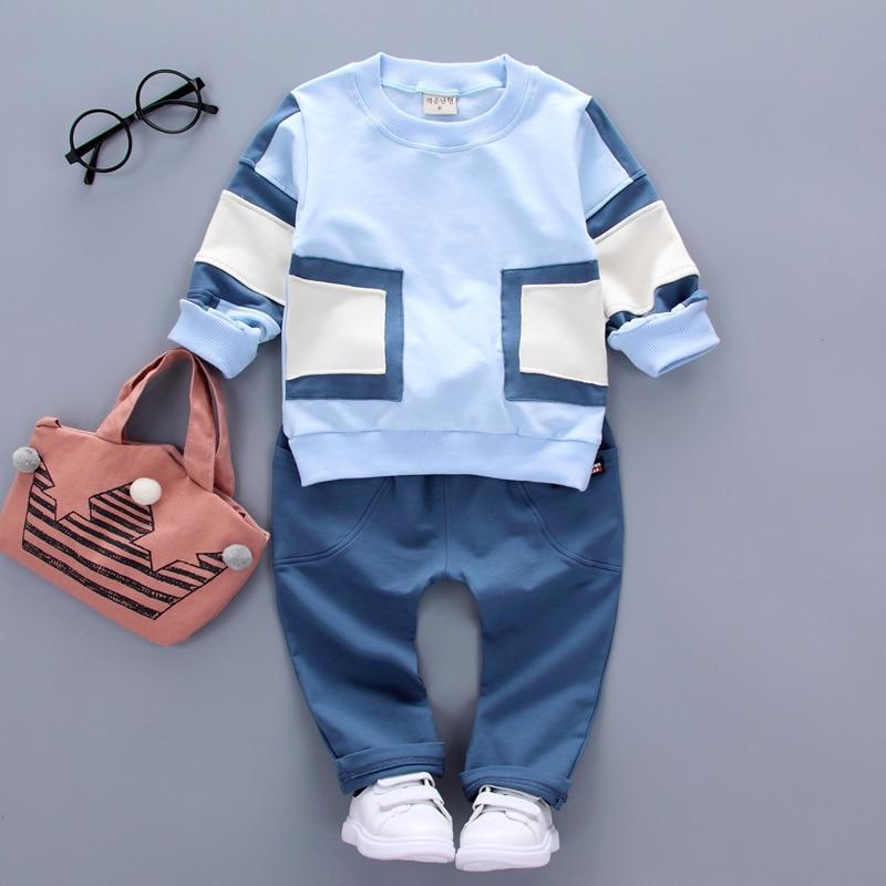 Autumn Baby Boy Cloth Set Long Sleeve Patch Patchwork Tops Shirt + Solid Pants 2Pcs Cotton Outfits Clothes for 1-4 Years Boy 2pcs set baby clothes set boy