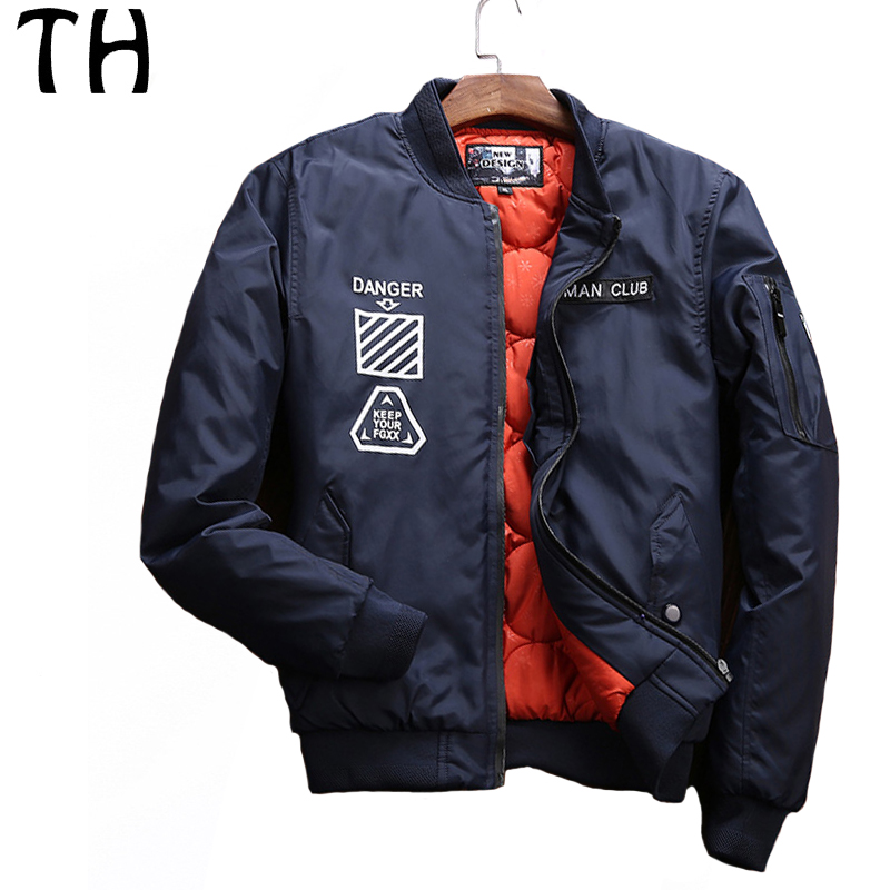 ФОТО Letter Print Thick Keep Warm Winter Jacket Men Parka Pockets Casual Bomber Jackets and Coats Jaqueta Masculina #161708
