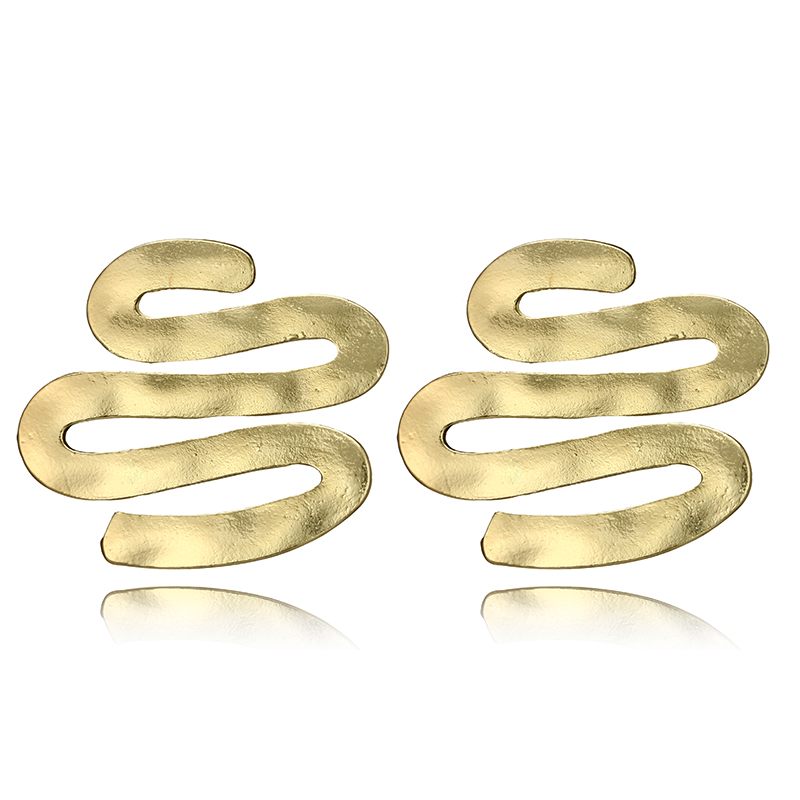 docona Punk Large Wave Drop Earring for Women Vintage Gold Silver Color Squiggle Pendant Earrings Jewelry Pendientes 6184