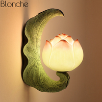 Chinese Style Lotus Wall Lamp Led Retro Mirror Lights Bedroom Bedside Lamp Vintage Resin Sconce Stair Home Decor Light Fixtures