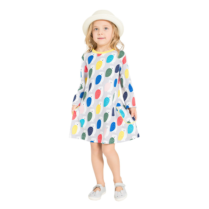 Kids clothing cotton Girls Dresses Brand Robe Princess Printed animal Owls Jumping Kids Girl Fashion Kids Dresses for Girls 2018 new cotton printed rose dresses