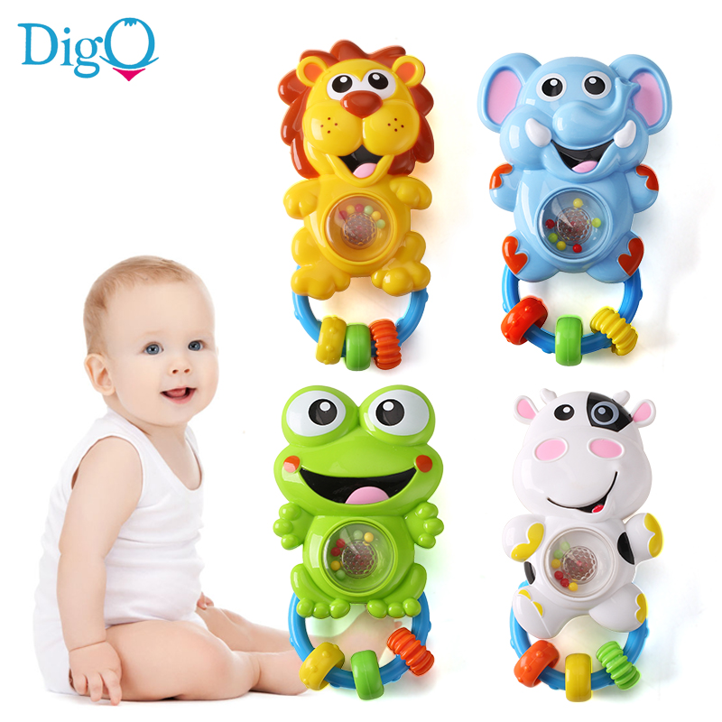Baby Musical Rattle with Light Cartoon Shaker Handbells Sing and Flash Infant Plastic Toys Animal Elephant Lion Cow Frog D51
