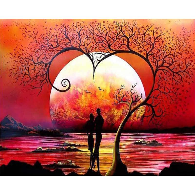 เย็บปักถักร้อยเพชรภูมิทัศน์ Diy เพชรภาพวาดพระอาทิตย์ตก Diy Full Mosaic Rhinestone ภาพตกแต่งบ้าน YY