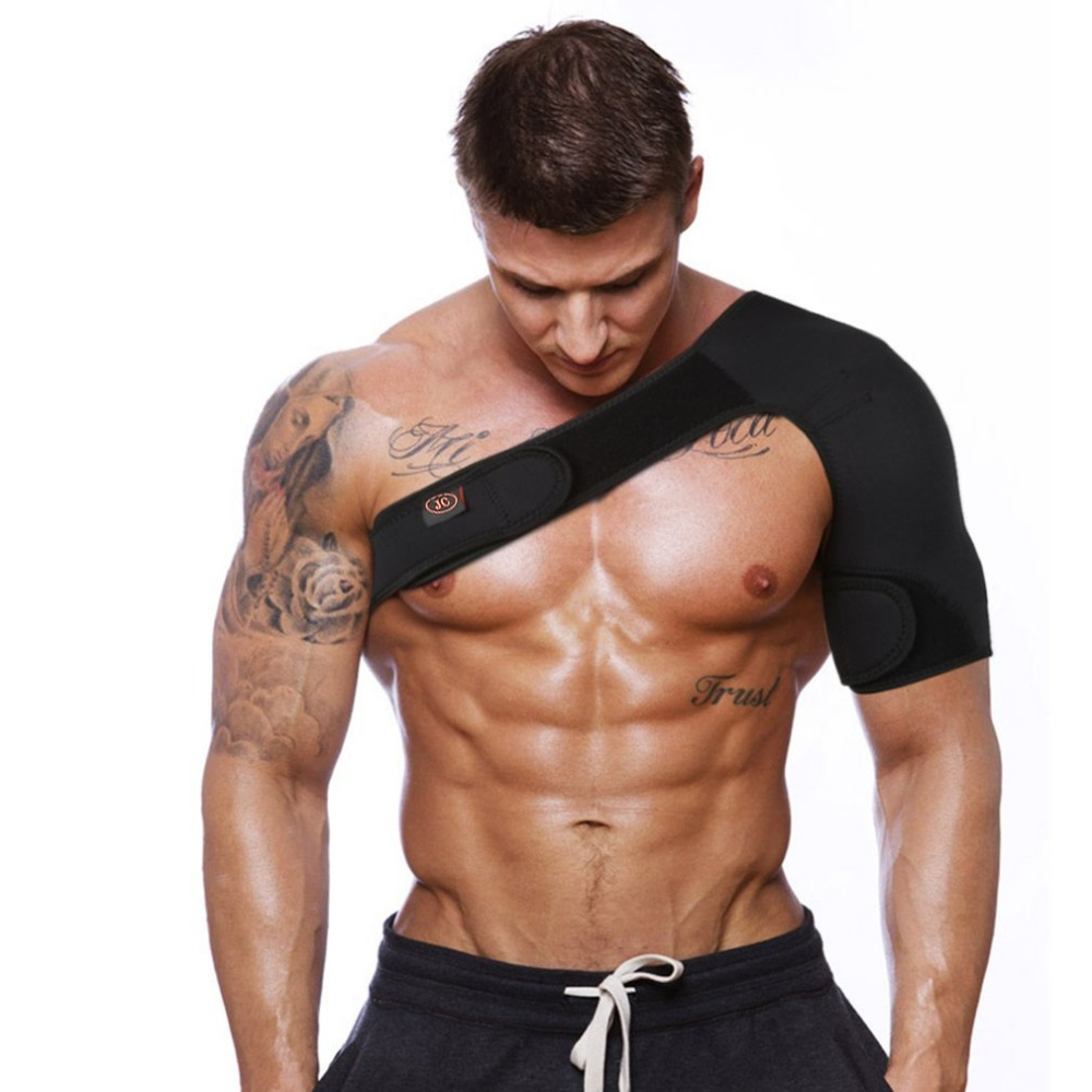Adjustable Breathable Gym Sports Care Single Shoulder Support Back Brace Guard Strap Wrap Belt Band Pads Black Bandage Men/Women