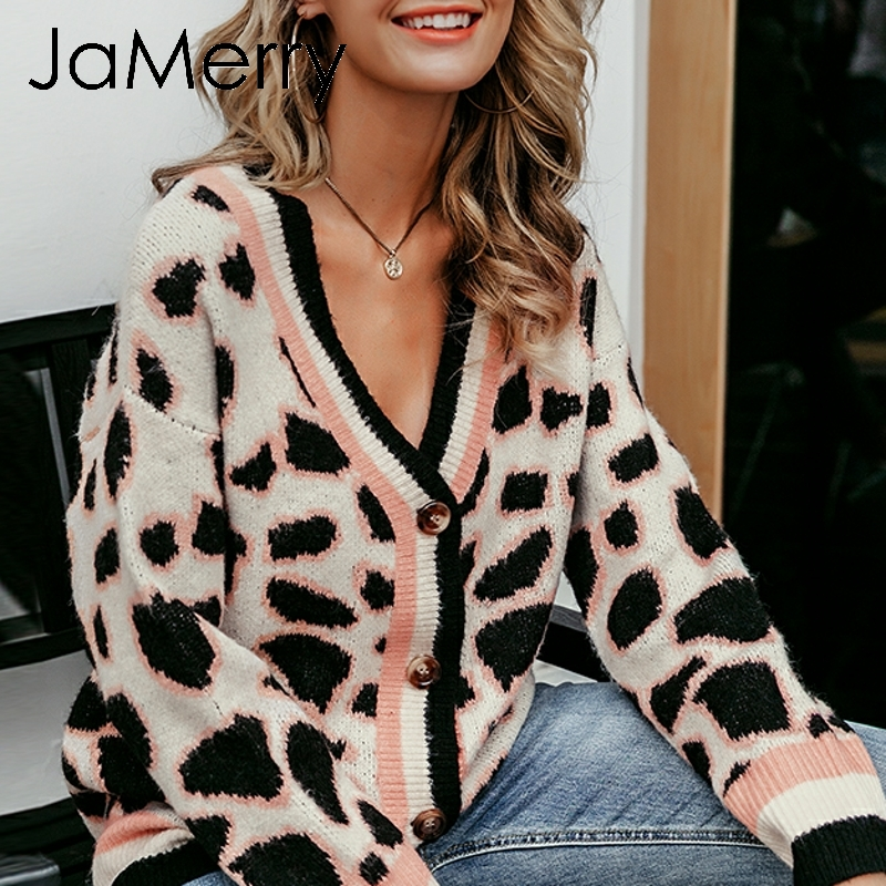 JaMerry Vintage Leopard Print Women Knitted Cardigan Sweater V-neck Buttons Short Cardigan Jumper Casual Female Ladies Outwear
