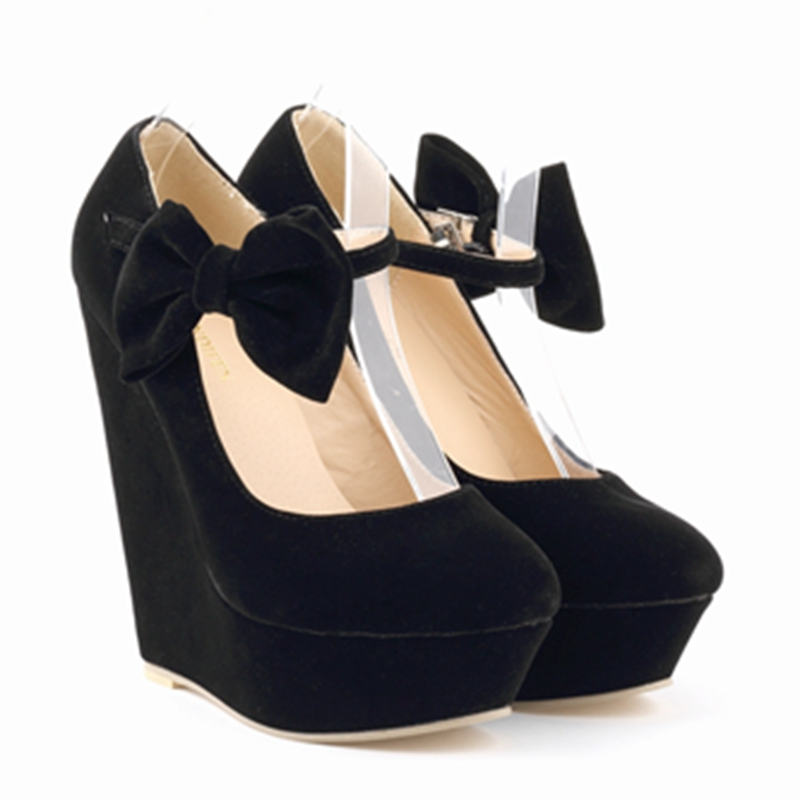 855db1c3bf7 9 Colors New Sexy Lady Wedges Red Black Bow High Heels Platform Women s  Shoes Fashion Pumps ...