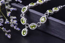 Natural green peridot Necklace natural olivine Pendant Necklace S925 Sterling silver trendy elegant Round women wedding Jewelry