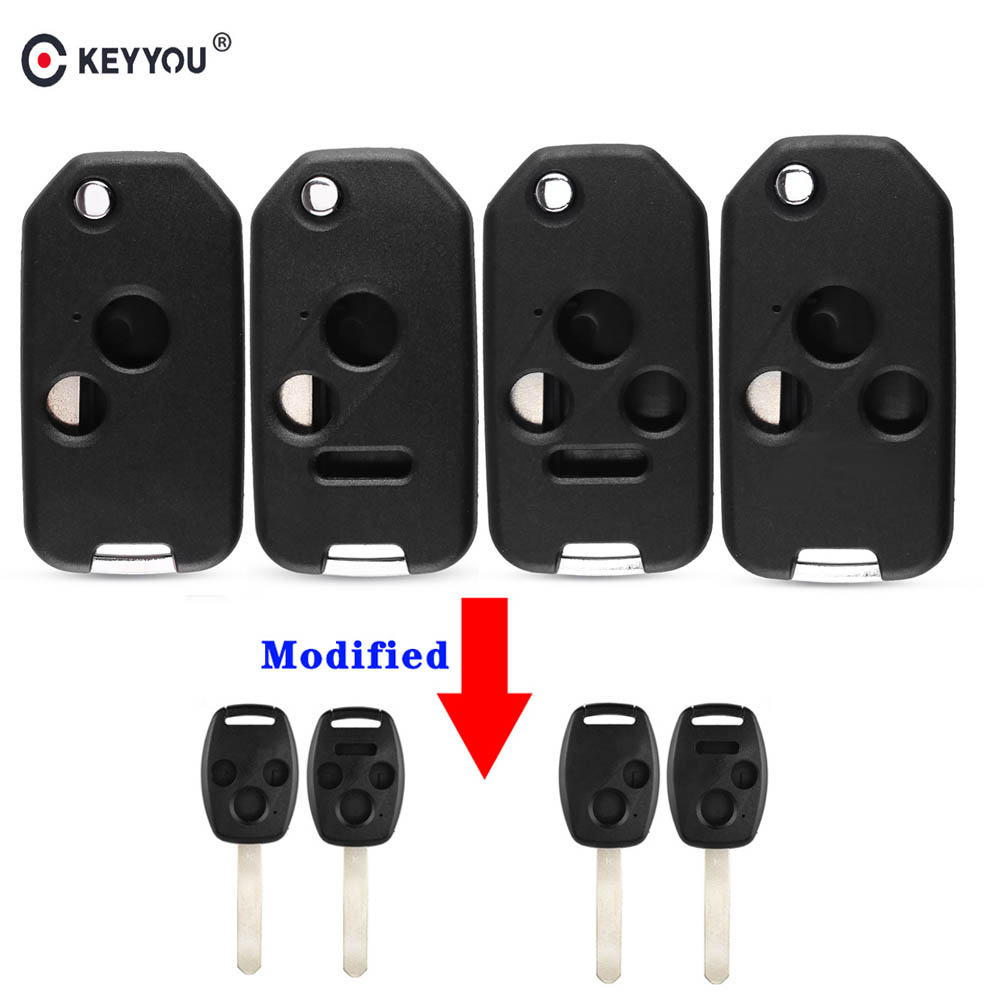 KEYYOU 2+1/3/3+1 Buttons Modified Folding <font><b>Flip</b></font> Car <font><b>Remote</b></font> Key Shell Fob Case Cover For <font><b>Honda</b></font> Odyssey Rigeline <font><b>Accord</b></font> CRV Civic image