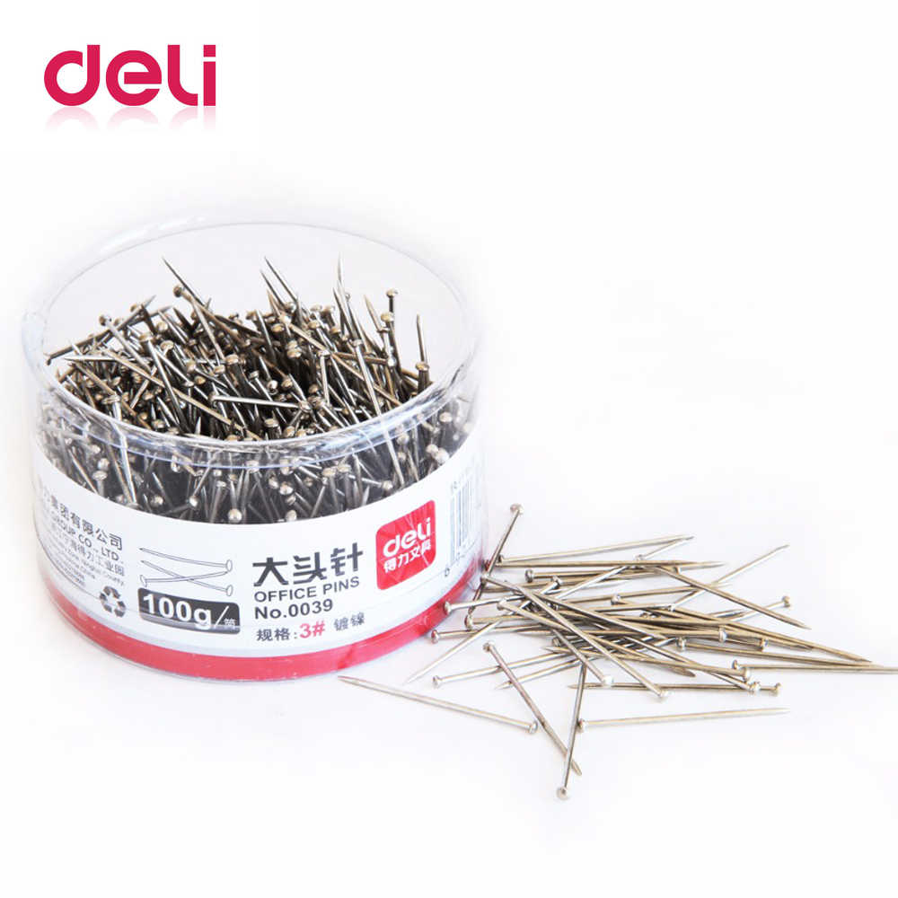 Deli 100g/barrel Metal office Sliver color Pins Map Pin 3# Office Accessories School Office Supplies 0039