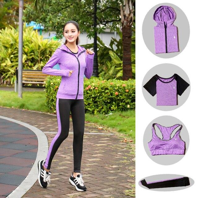 High Waist Pants + Hooded Coat + T-Shirt +Bra + Yoga Women's Pants 4 Pcs Set Outdoor Run Fast Dry Fitness Sports Gym Clothes Set 6
