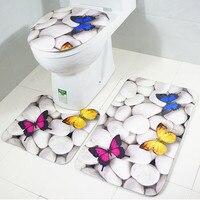 Ouneed3pcs Set Bathroom Non Slip Blue Ocean Style Pedestal Rug Lid Toilet Cover Bath Mat 30