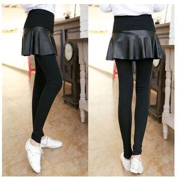 Pu женщин мини скольжения юбка над трикотажные леггинсы 2-в-1 лосины карандаш брюки черные бесплатная доставка