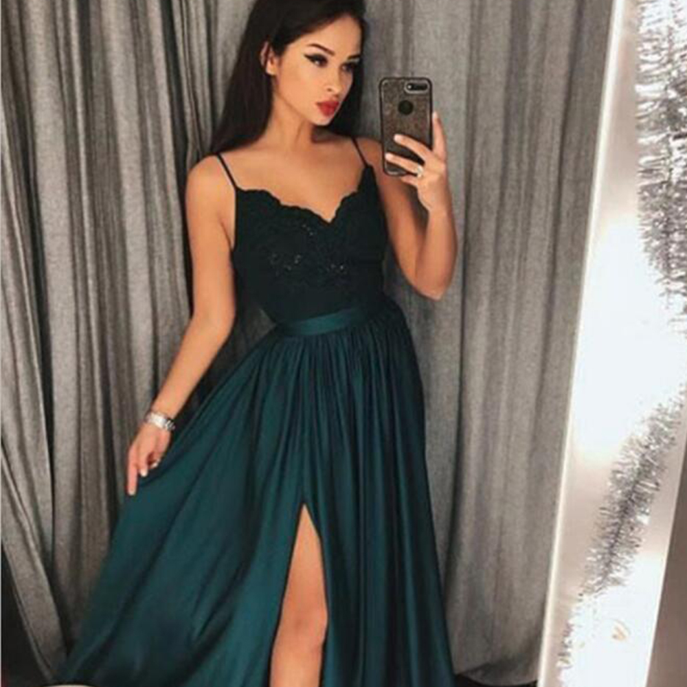 Bbonlinedress Long Prom Dresses Long  A-Line Spaghetti Strap Prom Dress High Split Elegant Formal Party Gown Vestido-de-festa
