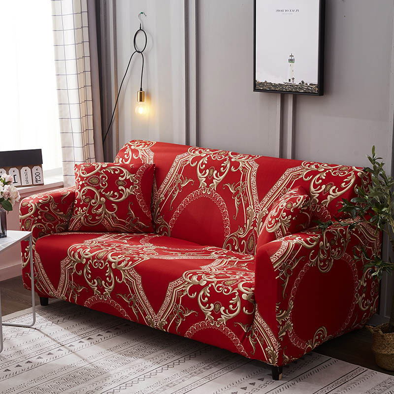 1pc Leaf and Flower Printed Sofa Cover Made of Polyester and Spandex Fabric for L Shaped and Corner Sofa 3