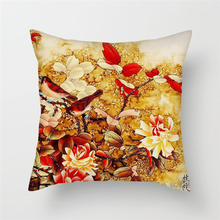 Fuwatacchi Flowers Print Cushion Cover Plum Blossom Grass Rose Peony Throw Pillows Cases for Home Sofa Decorative