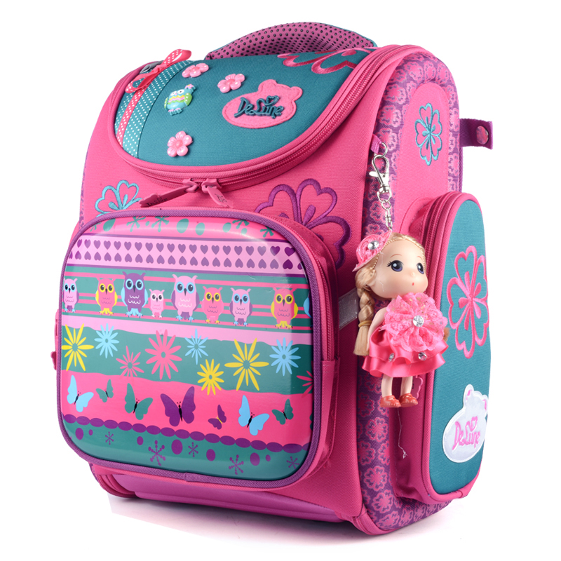 Delune New Fashion Children Cartoon Dogs Cute Bear Girls School Bags Waterproof Foldable Orthopedic School Backpacks Kids Bolsas