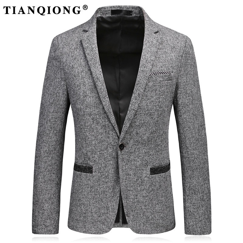 TIAN QIONG Casual Blazers Men Suits Jacket Cotton Male
